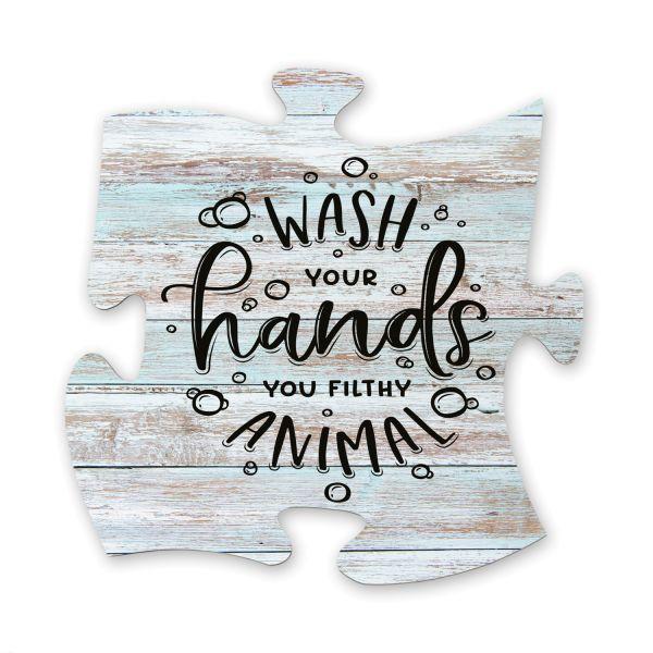 Wash Your Hands | Deko-Schild Holz-Puzzleteil ca. 30cm x 30cm | Shabby Chic Design