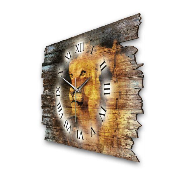 """Designer Funk-Wanduhr """"Löwe bei Sonnenuntergang"""" aus Naturholz mit leisem Funk- oder Quarzuhrwerk"""