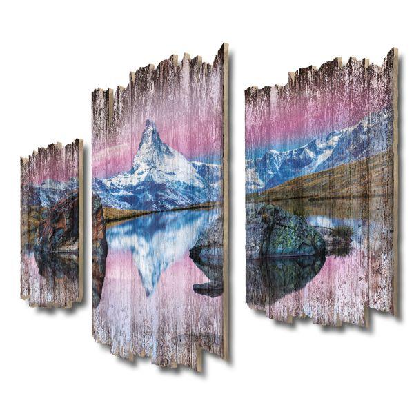 Matterhorn-Panorama Shabby chic 3-Teiler Wandbild aus Massiv-Holz