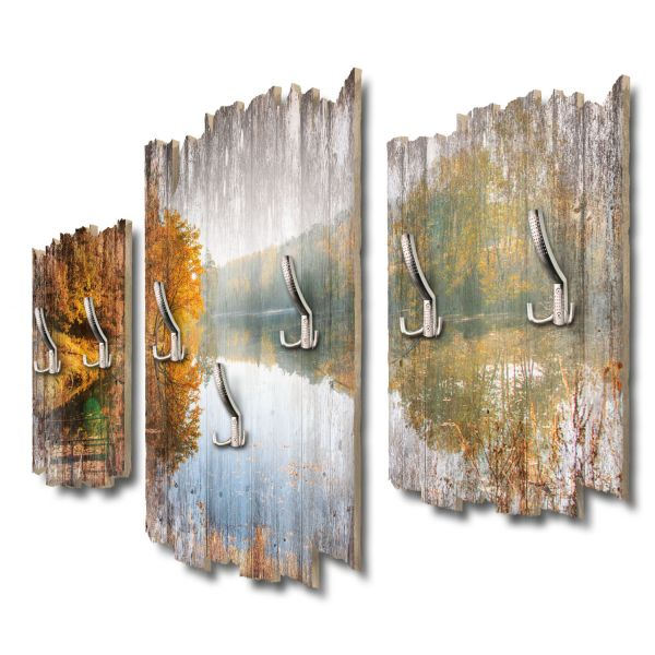 Herbstlicher See Shabby chic 3-Teiler Garderobe aus MDF