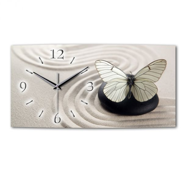 Wanduhr Schmetterling aus Alu-Verbund mit leisem Funkuhrwerk