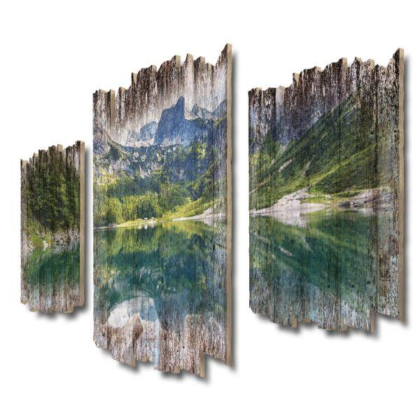 Bergsee-Panorama Shabby chic 3-Teiler Wandbild aus Massiv-Holz