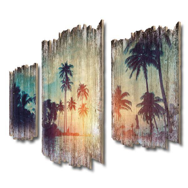 Inselparadies Shabby chic 3-Teiler Wandbild aus Massiv-Holz