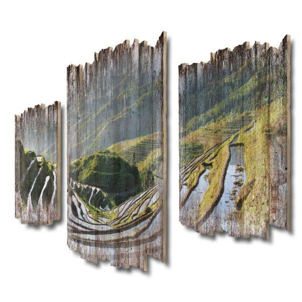 Reisterrassen Shabby chic 3-Teiler Wandbild aus Massiv-Holz