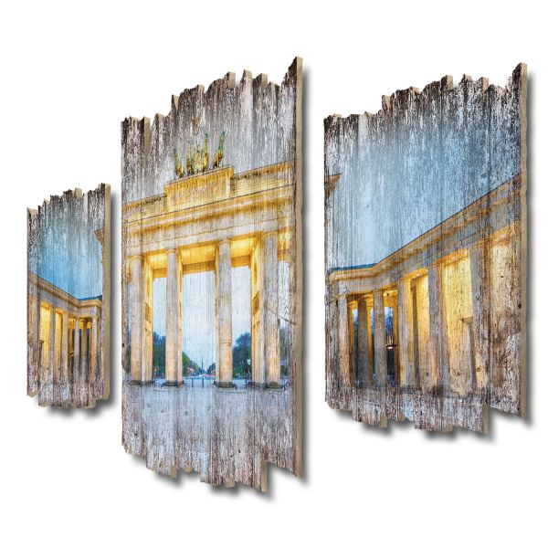 Brandenburger Tor Shabby chic 3-Teiler Wandbild aus Massiv-Holz