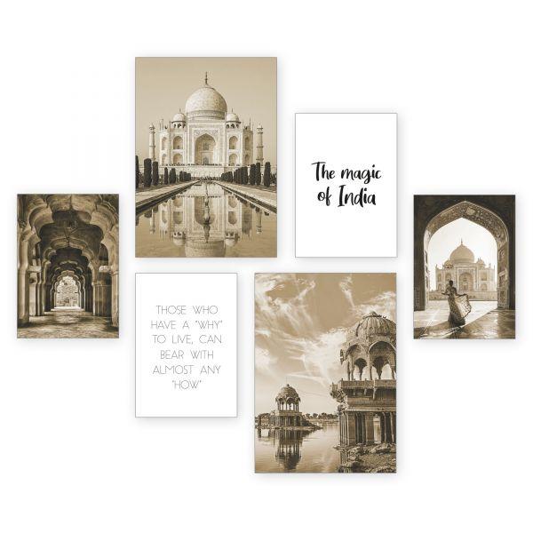 """""""Indien"""" 6-teiliges Poster-Set - optional mit Rahmen - 2 x DIN A3 & 4 x DIN A4"""