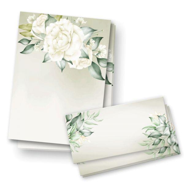 Briefpapier-Set   Rose Weiß   25x DIN A4 Briefpapier mit passenden Umschlägen