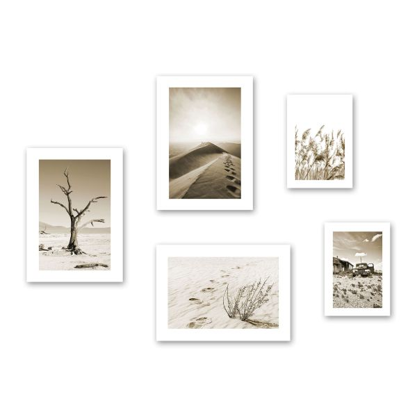 """Sand"" 5-teiliges Poster-Set - optional mit Rahmen - 3x DIN A3 & 2x DIN A4"