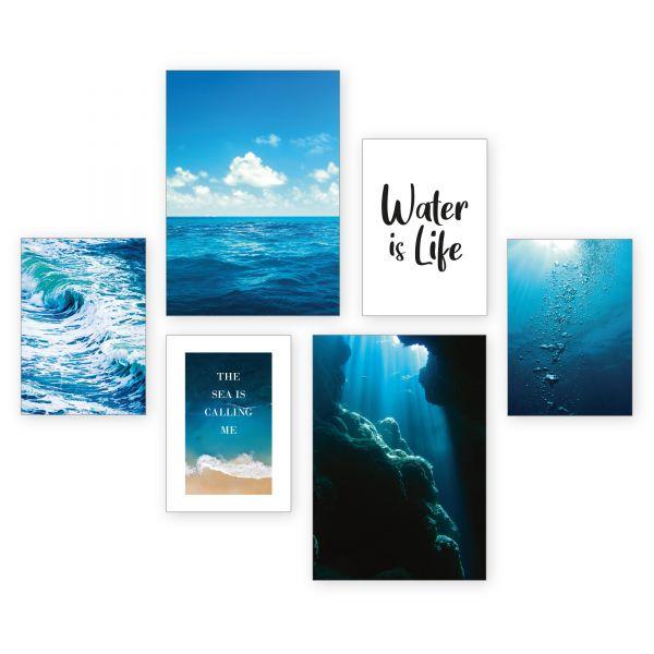 """Meer"" 6-teiliges Poster-Set - optional mit Rahmen - 2 x DIN A3 & 4 x DIN A4"