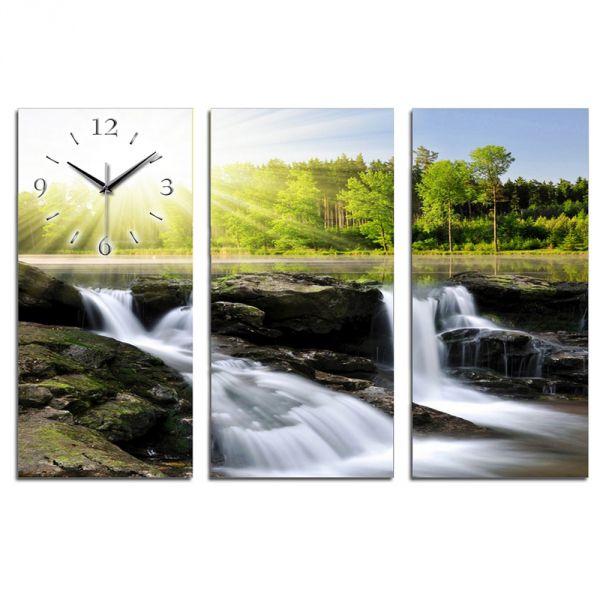 3 Teilige Wanduhr Wasserfall XXL aus Aluminium mit leisem Funkuhrwerk