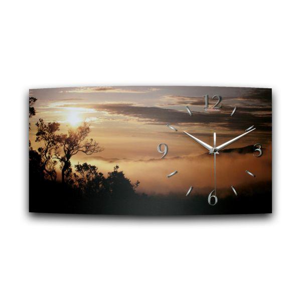 B-Ware Wanduhr Sonnenaufgang aus Alu-Verbund mit leisem Funkuhrwerk