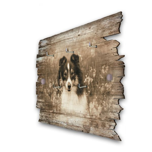 Schwarzer Collie Schlüsselbrett mit 5 Haken im Shabby Style aus Holz