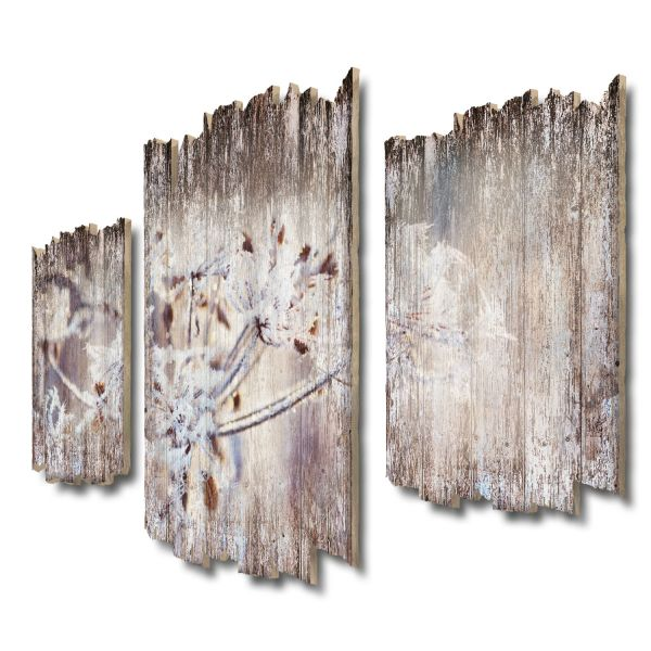 Eisblüten Shabby chic 3-Teiler Wandbild aus Massiv-Holz