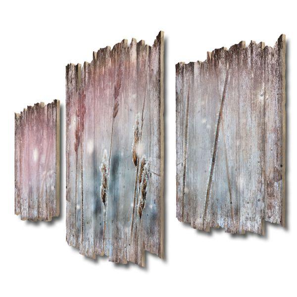 Kühler Morgen Shabby chic 3-Teiler Wandbild aus Massiv-Holz