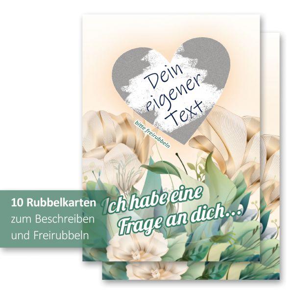 """""""Blumen"""" Rubbelkarten im 10er Set mit Umschlägen und Rubbelstickern"""