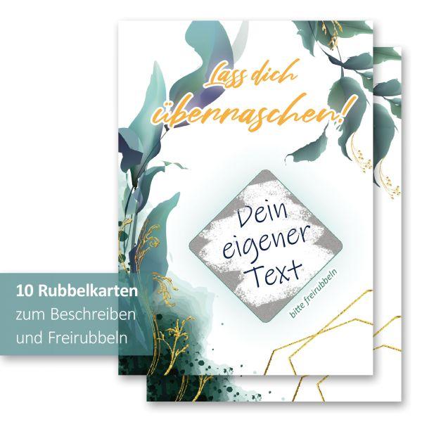"""""""Blätter"""" Rubbelkarten im 10er Set mit Umschlägen und Rubbelstickern"""