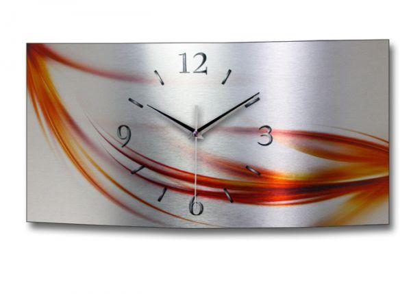 Wanduhr abstrakt rot metallic wag053fl - Designer wanduhren wohnzimmer ...