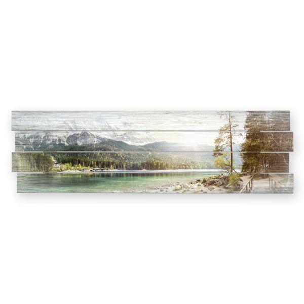 Bergsee | Shabby chic Holzbild | ca.100x30cm