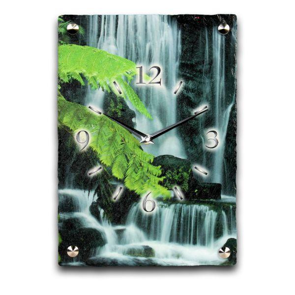 Wasserfall Designer Funk-Wanduhr aus echtem Naturschiefer mit leisem Funk- oder Quarzuhrwerk