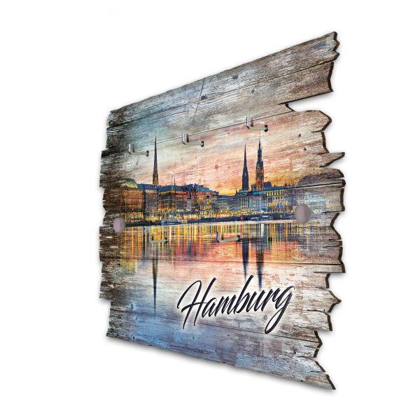 Hamburg Schlüsselbrett mit 5 Haken im Shabby Style aus Holz