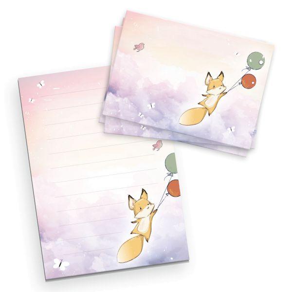 Briefpapier-Set für Kinder | Ballons | DIN A5 Briefpapier-Block 50 Blatt mit 20 Umschlägen