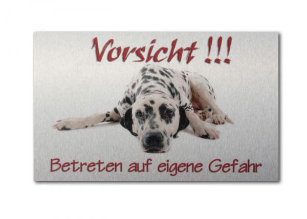 Hundewarnschild Dalmatiner aus gebürstetem Alu-Verbund