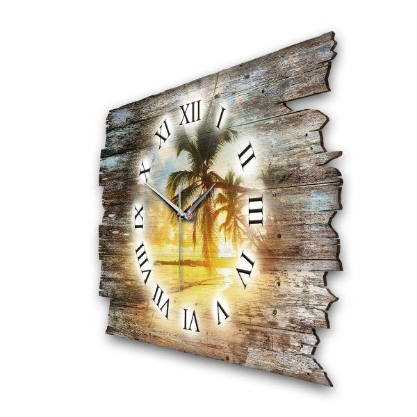 """Designer Funk-Wanduhr """"Abendlicher Palmenstrand"""" aus Naturholz mit leisem Funk- oder Quarzuhrwerk"""
