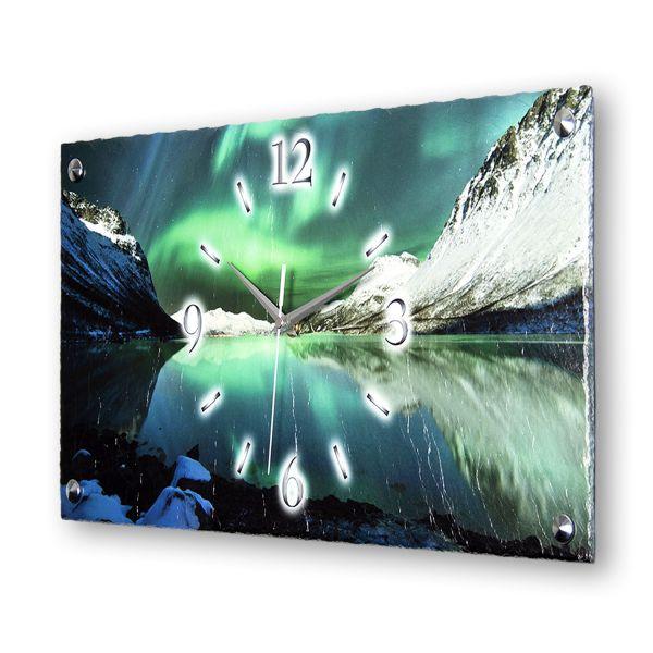 """Designer Funk-Wanduhr """"Polarlicht"""" aus echtem Naturschiefer mit leisem Funk- oder Quarzuhrwerk"""
