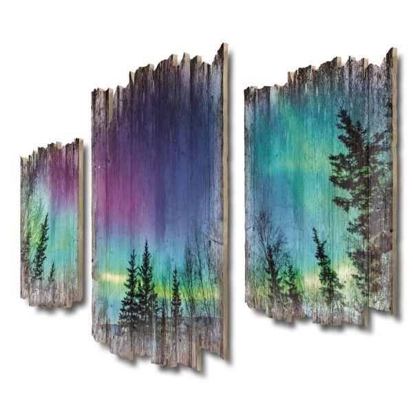 Nordlichter Shabby chic 3-Teiler Wandbild aus Massiv-Holz