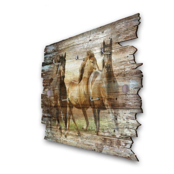 Drei Wildpferde Schlüsselbrett mit 5 Haken im Shabby Style aus Holz