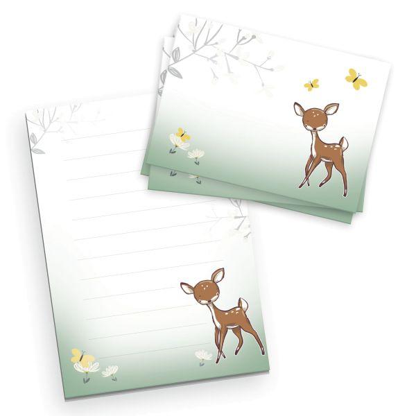 Briefpapier-Set für Kinder | Reh | DIN A5 Briefpapier-Block 50 Blatt mit 20 Umschlägen