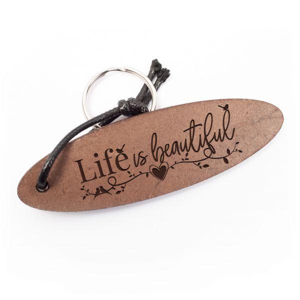 Schlüsselanhänger oval aus Echtleder mit Gravur im Used Look | life is beautiful
