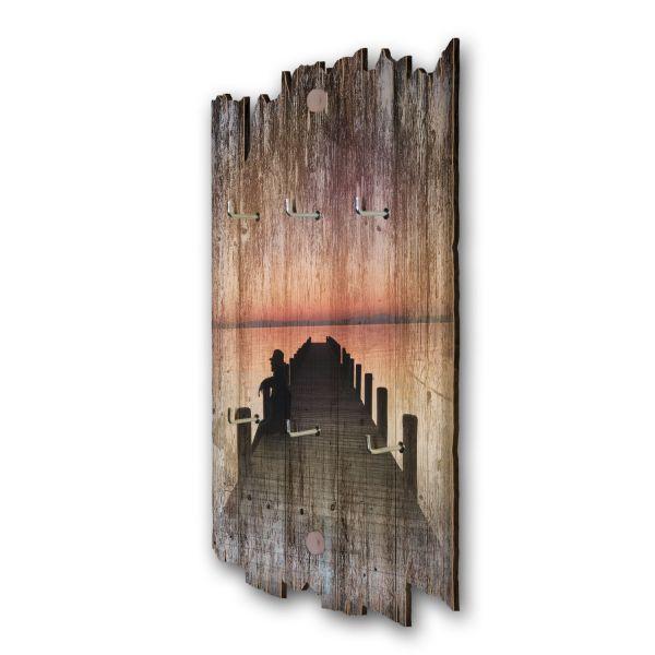 Steg in der Dunkelheit Schlüsselbrett mit 6 Haken im Shabby Style aus Holz