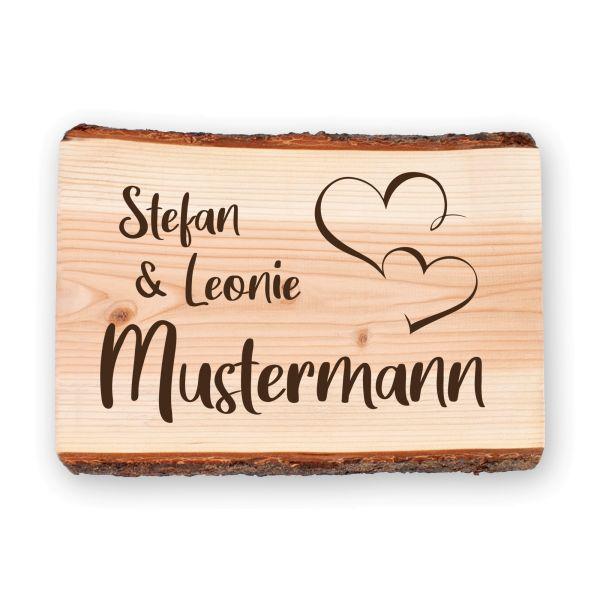 Zwei Herzen | Holzschild personalisiert mit Ihrem Wunsch-Text | ideale Deko für die Haustür