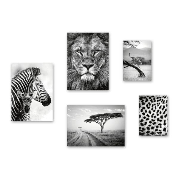 """Afrika"" 5-teiliges Poster-Set - optional mit Rahmen - 3x DIN A3 & 2x DIN A4"