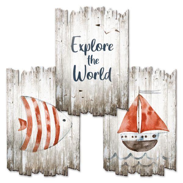 Explore | Deko-Holzschilder im 3er Set | wahlw. in 30x20cm oder 30x45cm