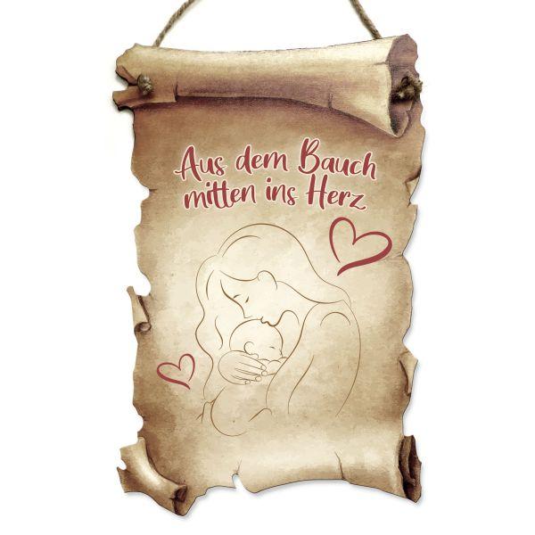 Deko-Schild aus Holz in Schriftrollen-Optik mit Spruch | Mitten ins Herz | ideales Geschenk