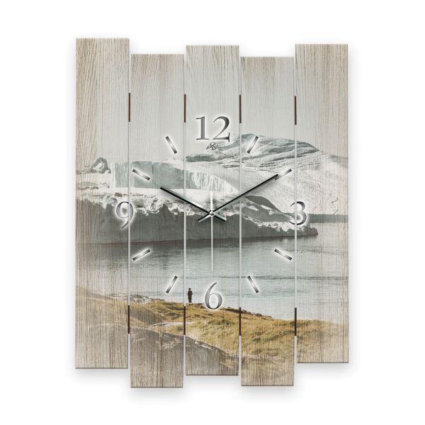 """Designer Wanduhr """"Eisige Küste"""" aus MDF mit leisem Funk- oder Quarzuhrwerk"""