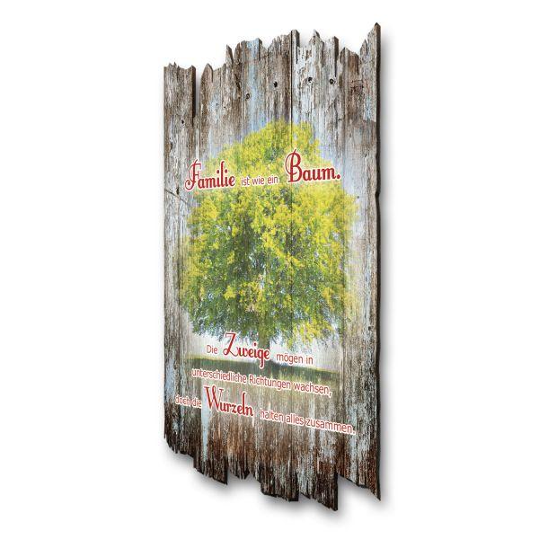 """Sprüche-Holzschild """"Familie wie ein Baum"""""""