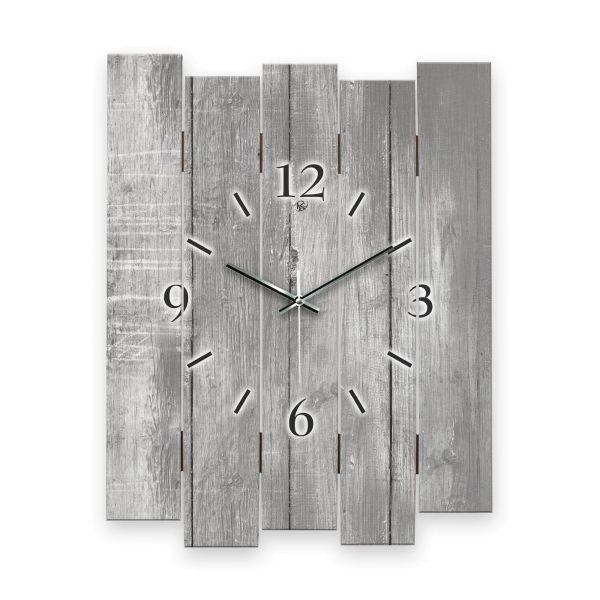 """Designer Wanduhr """"Altes Holz Grau"""" aus MDF mit leisem Funk- oder Quarzuhrwerk"""
