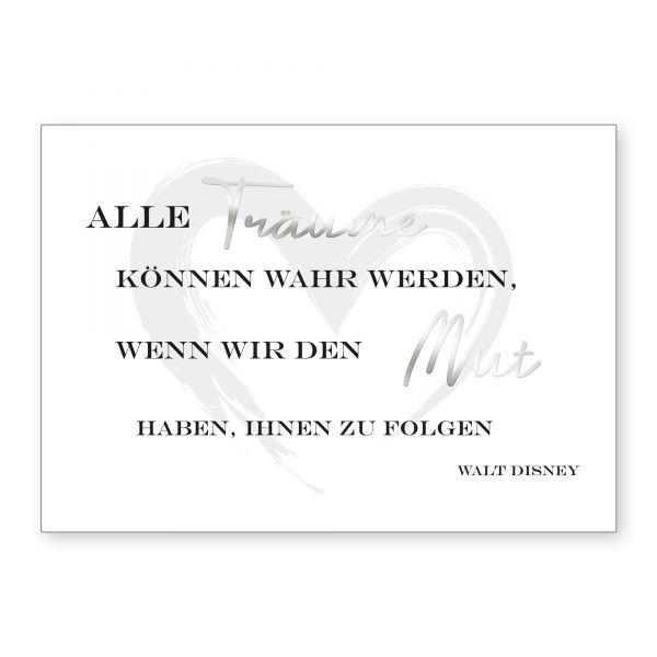 """""""Träume und Mut"""" mit Chrom-Effekt veredeltes Poster - optional mit Rahmen - DIN A4"""