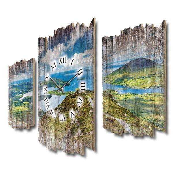 Wanderweg Connemara Shabby chic Dreiteilige Wanduhr aus MDF mit leisem Funk- oder Quarzuhrwerk
