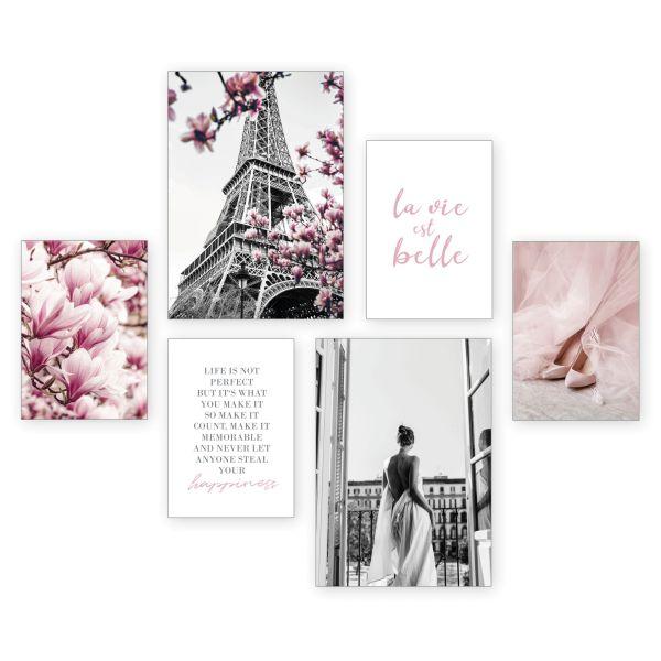 """""""Paris"""" 6-teiliges Poster-Set - optional mit Rahmen - 2 x DIN A3 & 4 x DIN A4"""