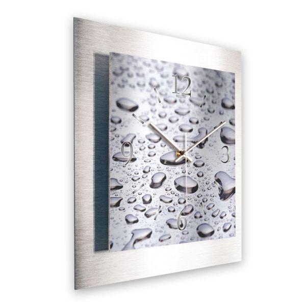 """3D Wanduhr """"Regentropfen"""" aus gebürstetem Aluminium mit leisem Funk- oder Quarzuhrwerk"""