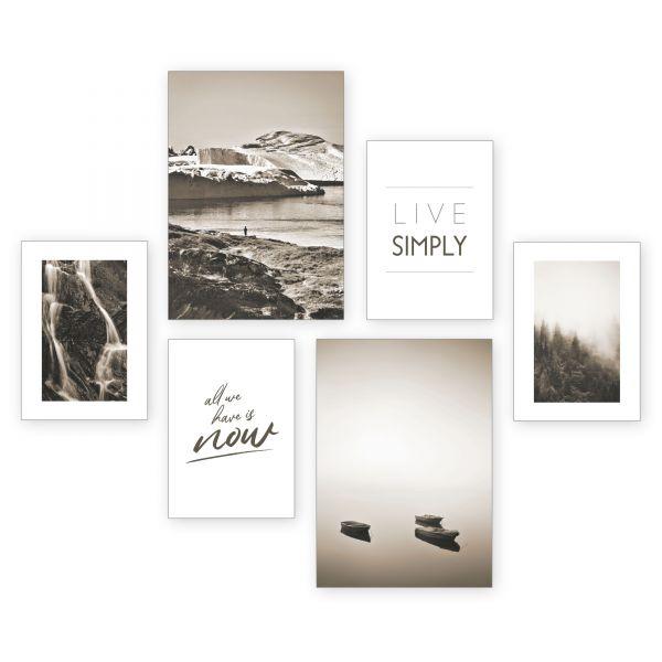 """""""Live Simply"""" 6-teiliges Poster-Set - optional mit Rahmen - 2 x DIN A3 & 4 x DIN A4"""