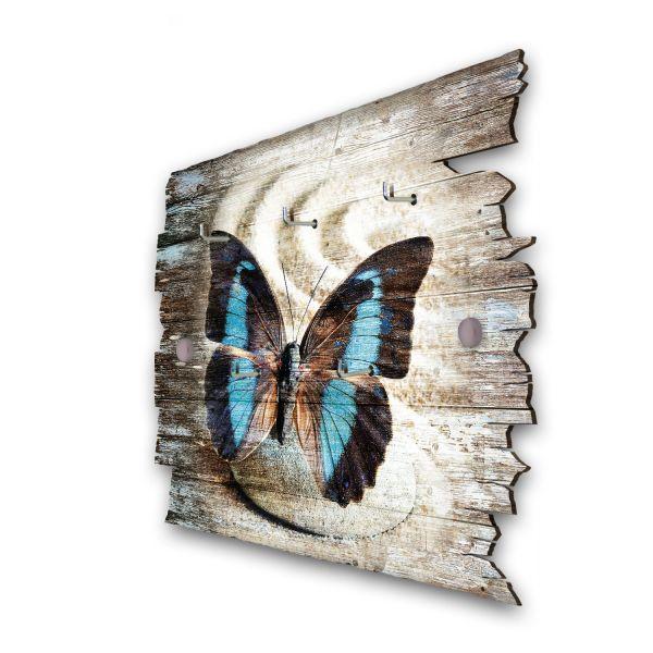 Schmetterling auf Stein Schlüsselbrett mit 5 Haken im Shabby Style aus Holz