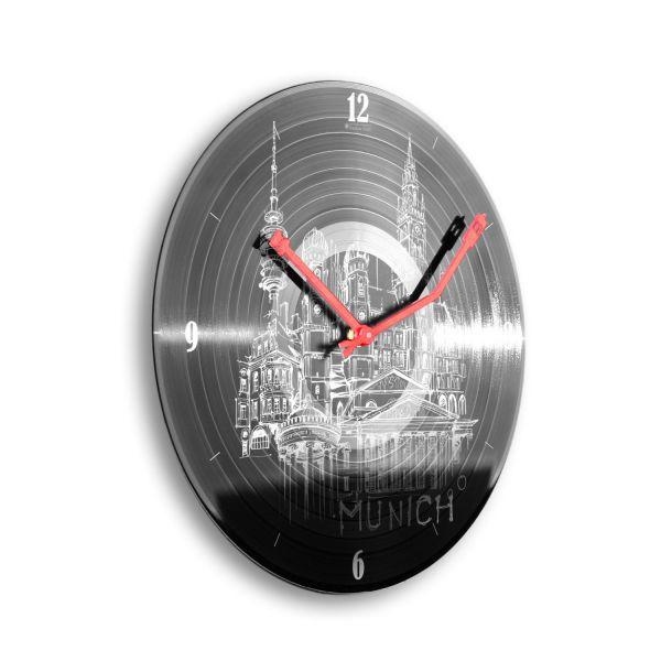 """Schallplattenuhr """"München"""" wahlw. mit leisem Funk- oder Quarzuhrwerk"""