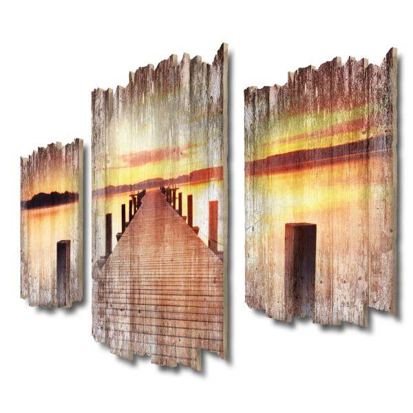 Steg am See Shabby chic 3-Teiler Wandbild aus Massiv-Holz
