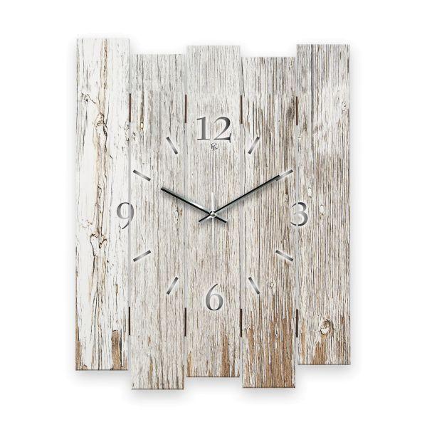 """Designer Wanduhr """"Altes Holz Weiß"""" aus MDF mit leisem Funk- oder Quarzuhrwerk"""
