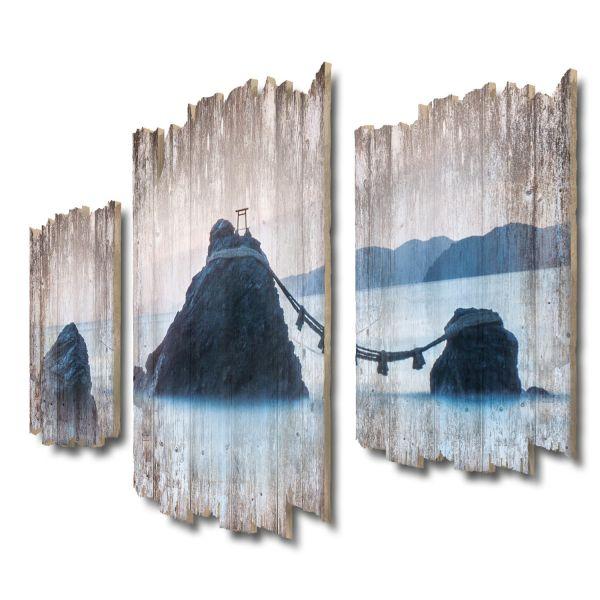 Meoto Iwa Japan Shabby chic 3-Teiler Wandbild aus Massiv-Holz
